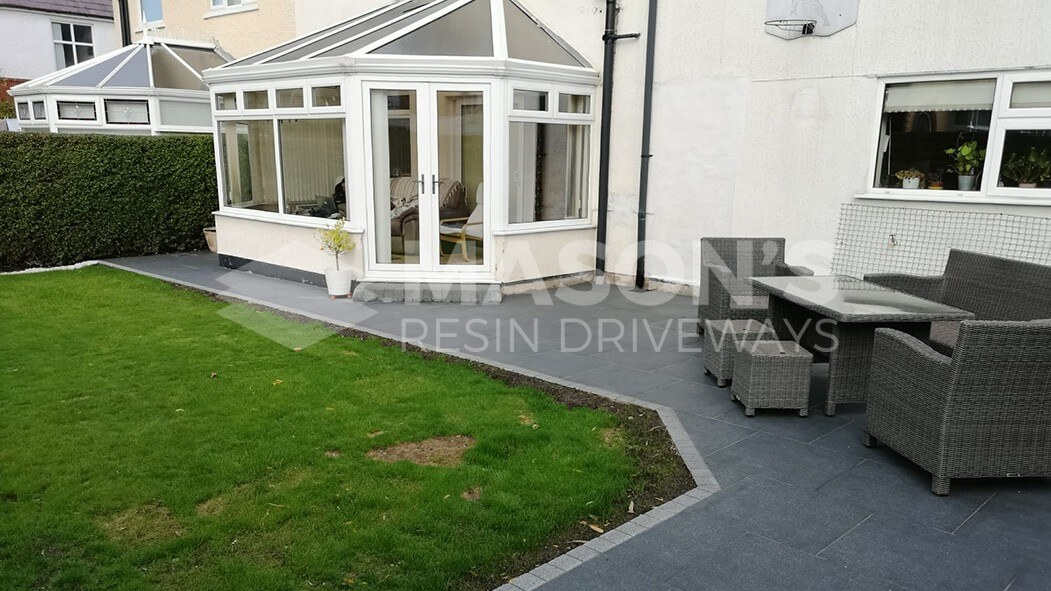porcelain patio anthracite grey with tantalised fencing garden view in penwortham, preston