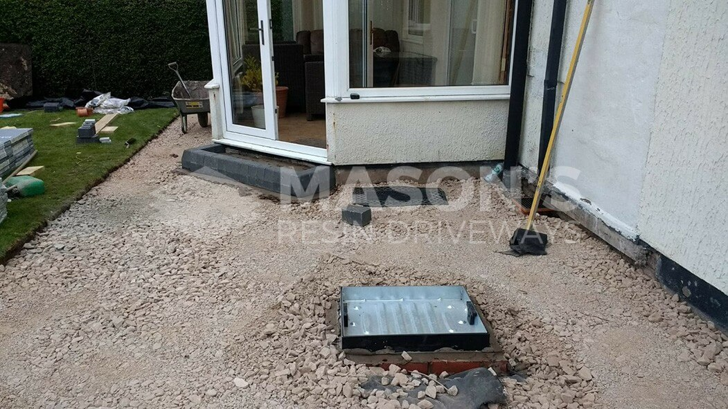 before process of porcelain patio anthracite grey in penwortham, preston