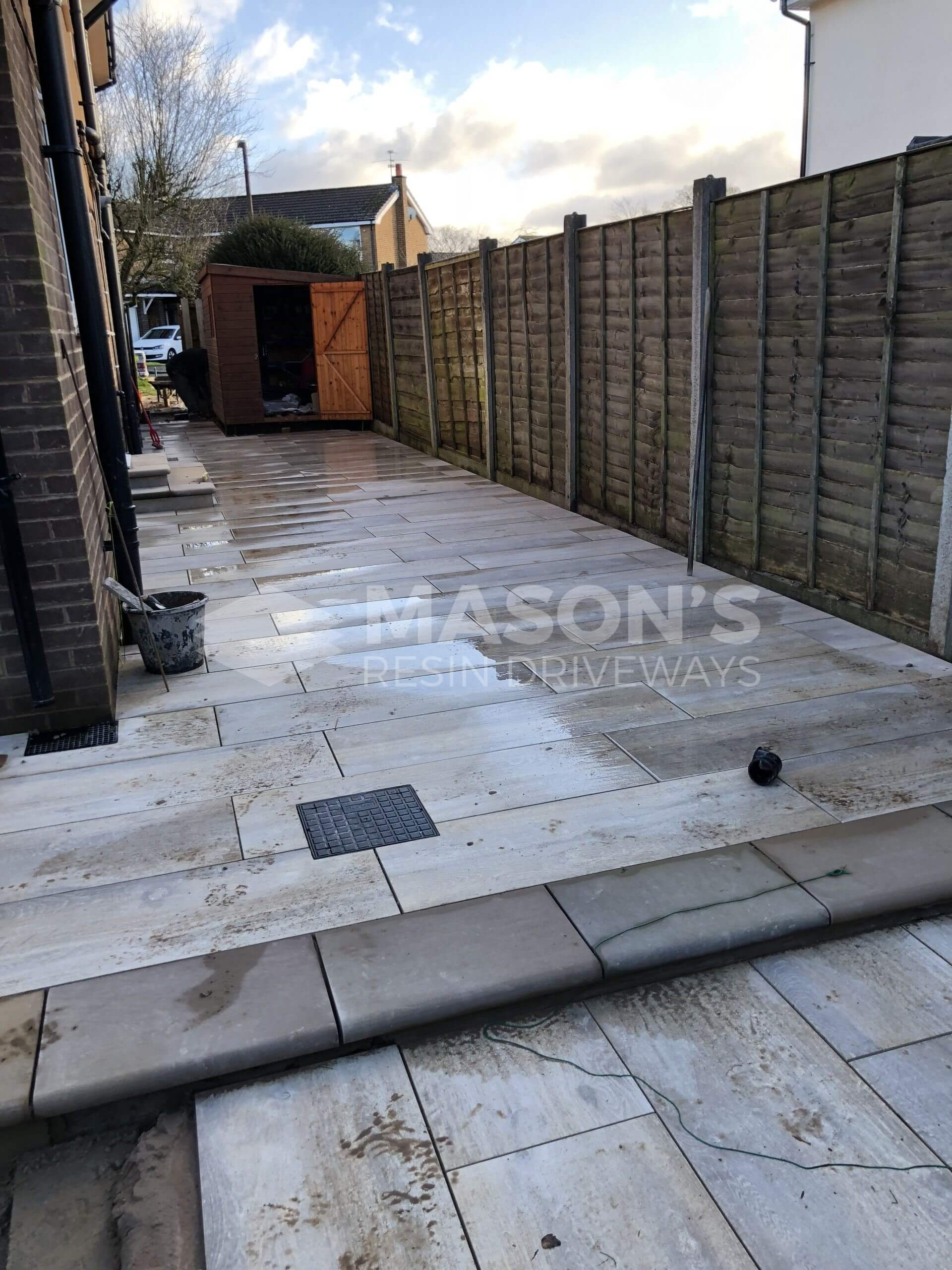 nearly complete porcelain patio wood effect in leyland, near preston