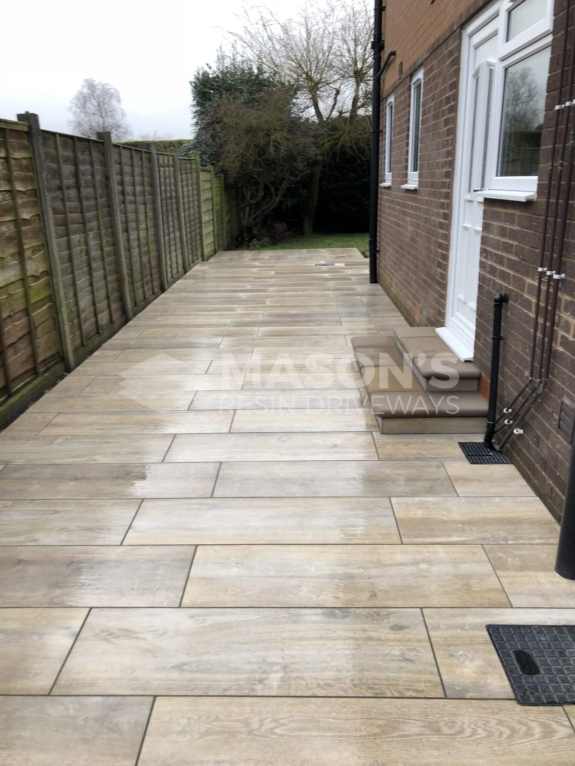 alley of porcelain patio wood effect in leyland, preston door and steps