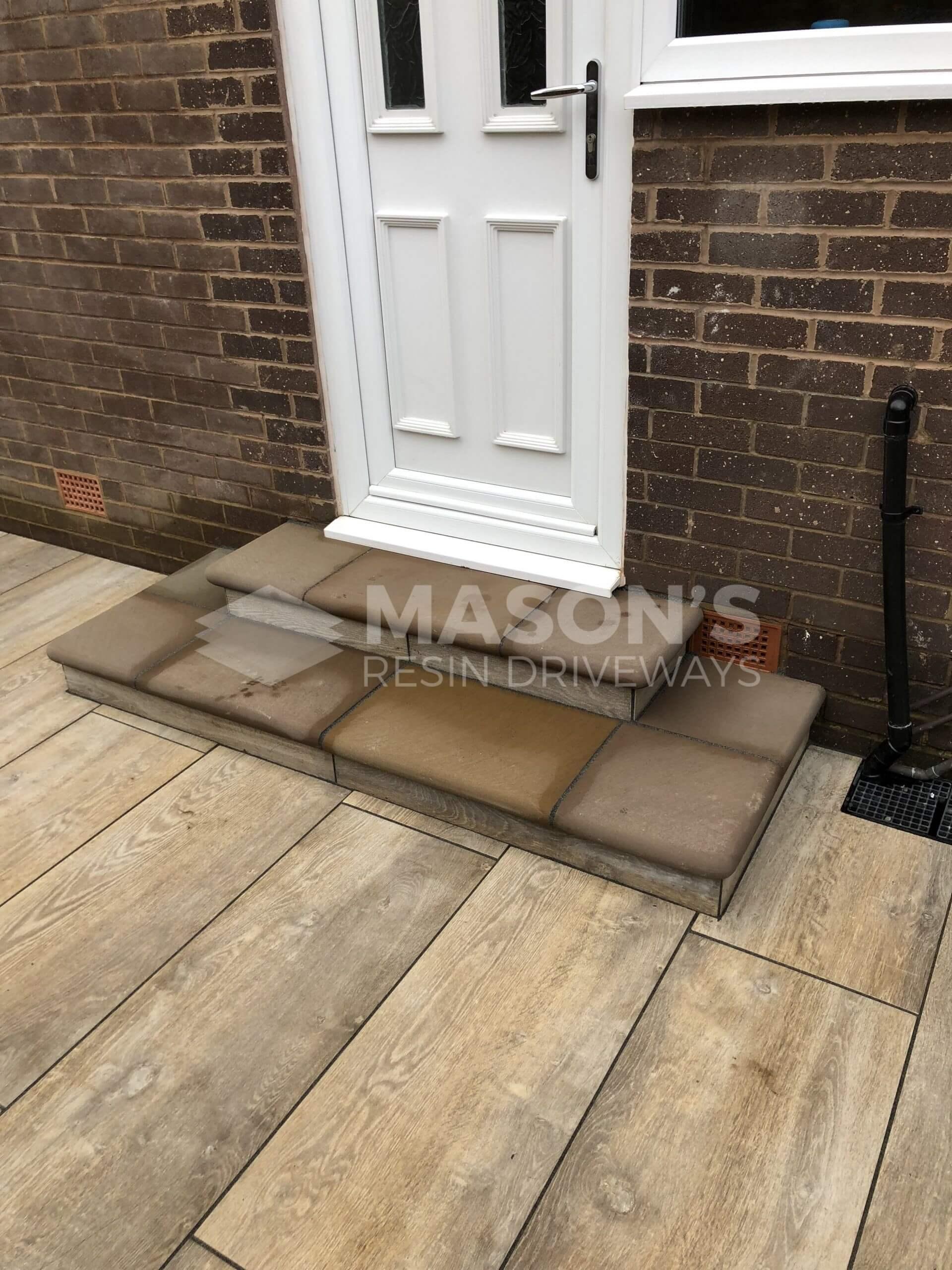door and steps of porcelain patio wood effect leyland, near preston