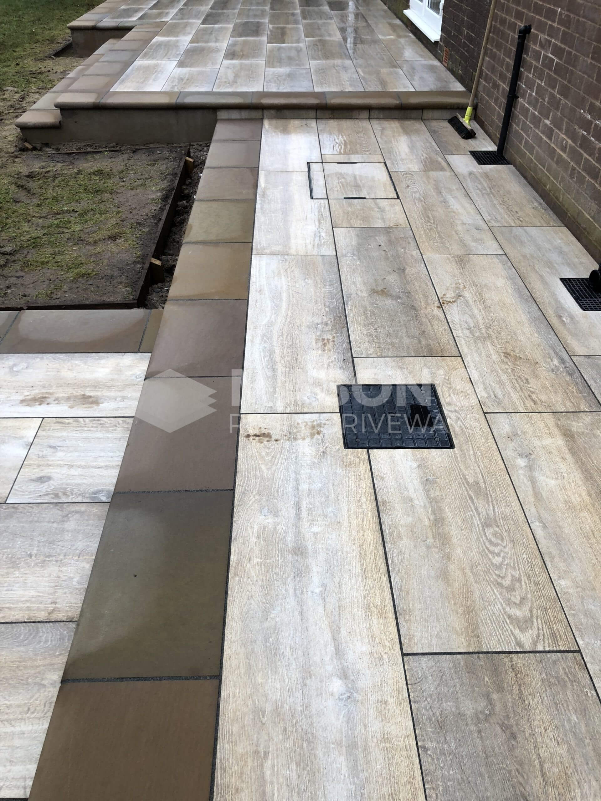 close up of porcelain patio wood effect in leyand, near preston