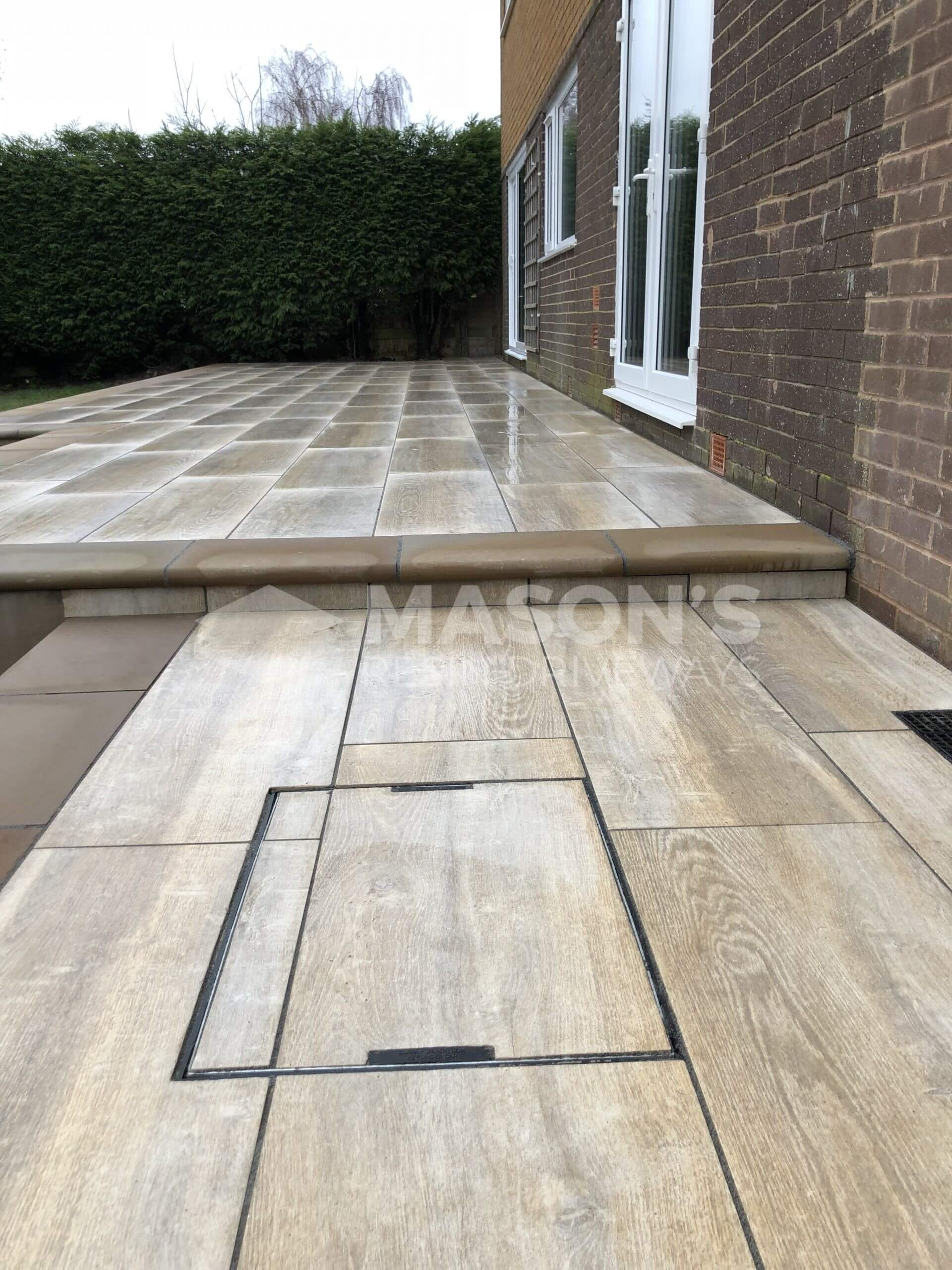 angles of finished porcelain patio wood effect in leyland, near preston