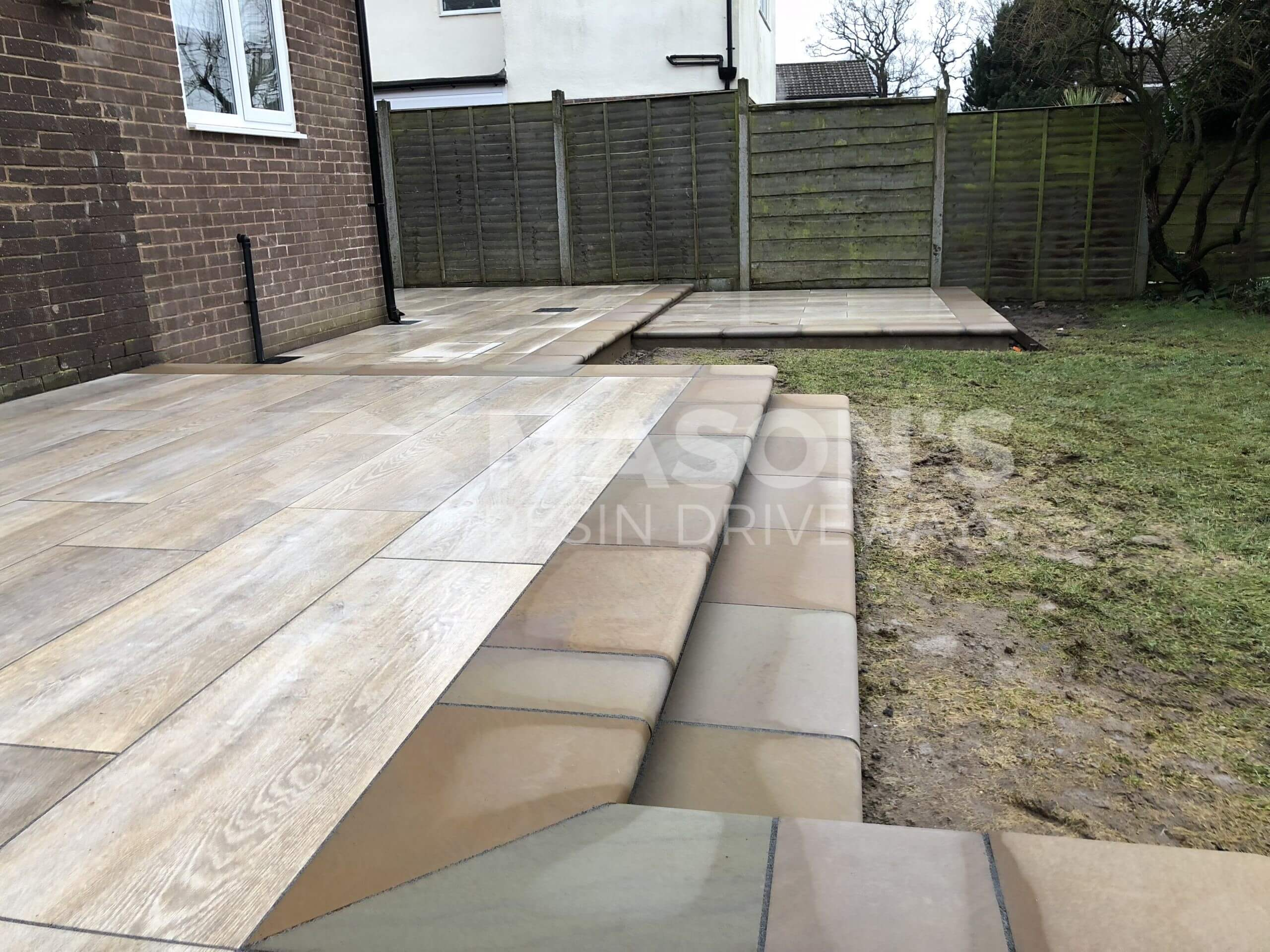 stepped porcelain patio wood effect in leyland, preston