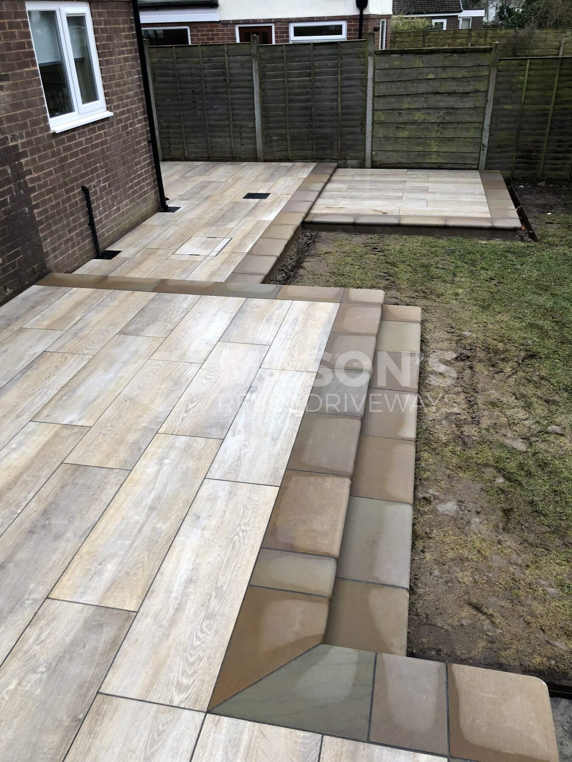 whole view of porcelain patio wood effect in leyland, near preston