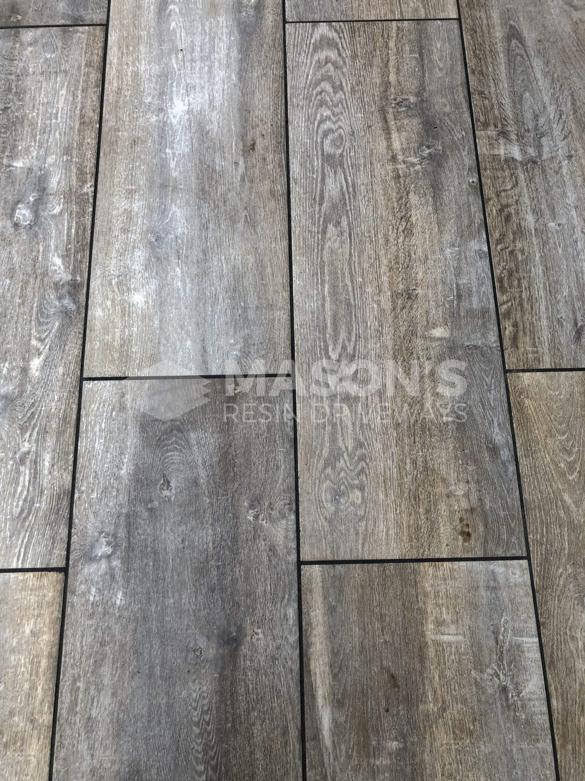 close up of the wood effect on porcelain patio in leyland, near preston