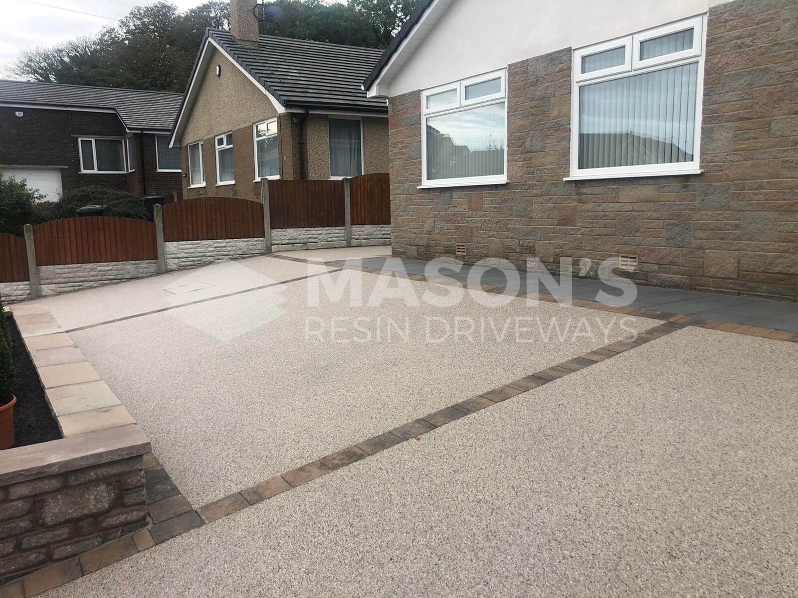 Slanted Pearl Quartz Resin Bound Driveway in Preston, Lancashire