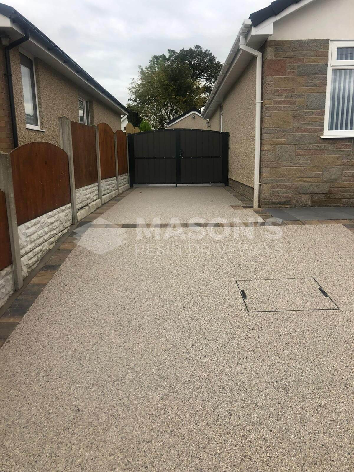 Resin Bound Driveway Pearl Quartz leading to back garden in Preston, Lancashire