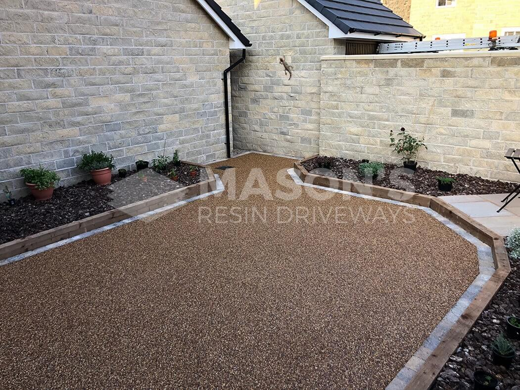 View of resin patio area from house, installed near Preston in Lancashire.