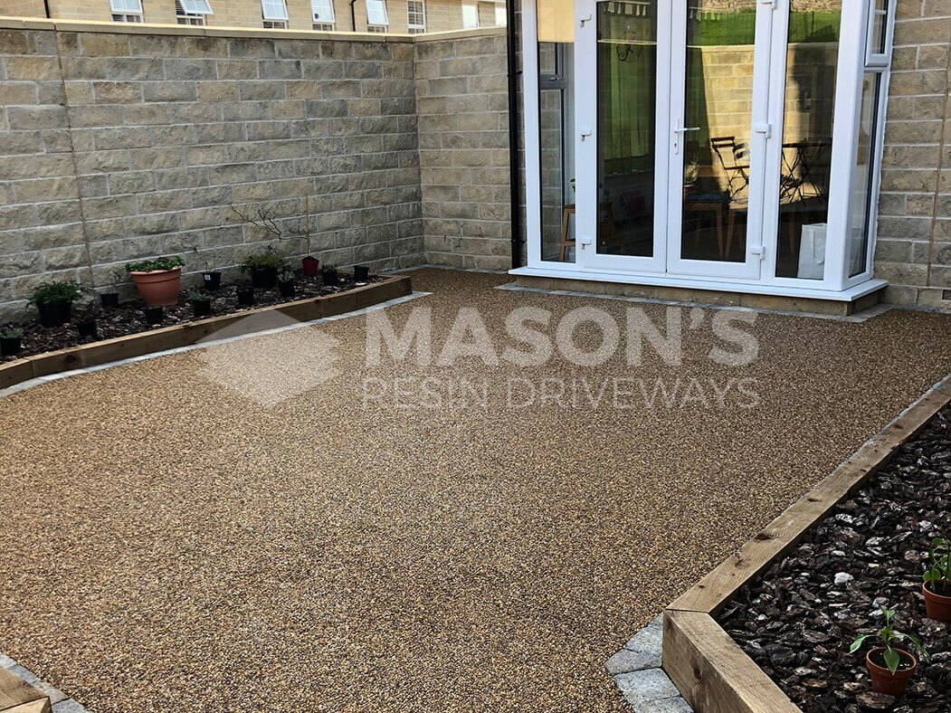 Finished resin patio area in Lancashire, near Preston.