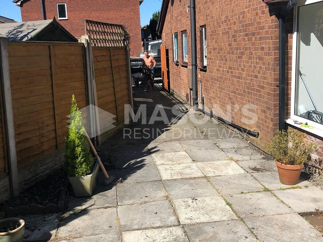 Before work of resin bound driveway, Preston, Lancashire