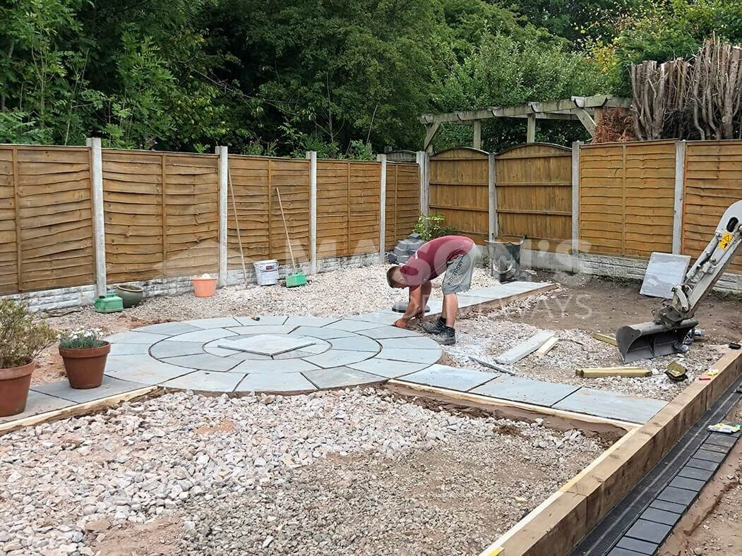 Workers completing full resin bound driveway and landscaping project in Preston, Lancashire