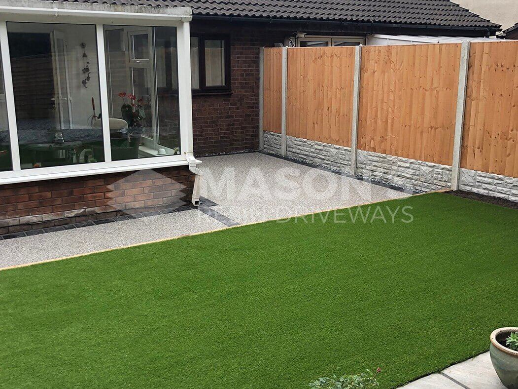 View of artificial grass and resin bound driveway in Preston, Lancashire