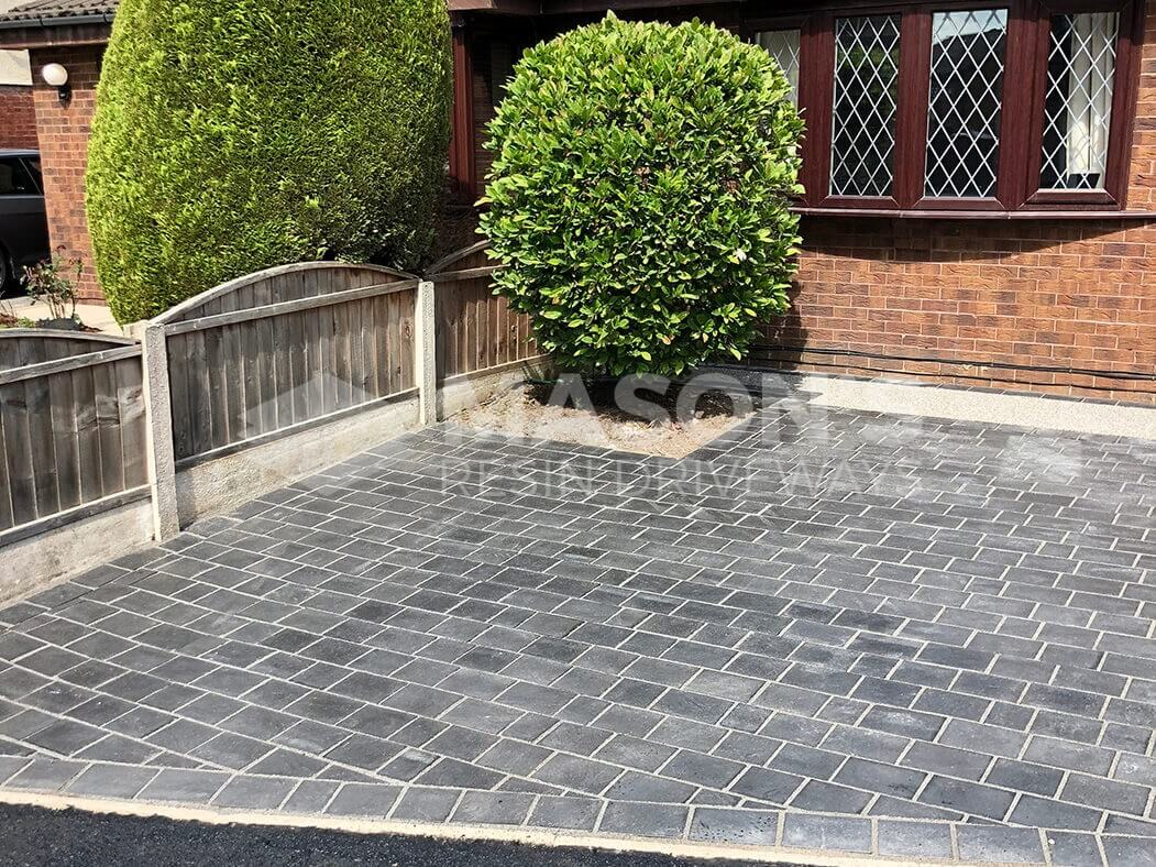 Side view of paving completed with resin bound driveway in Preston, Lancashire