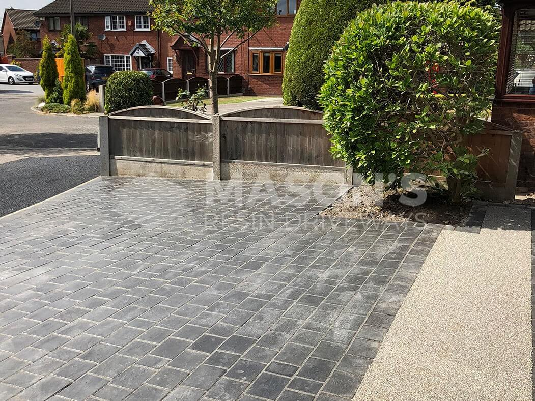 Paving and resin bound driveway together, Preston, Lancashire