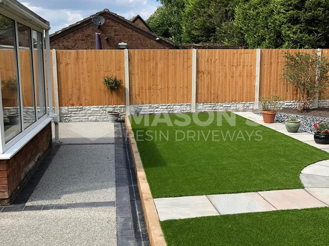 Side view of artificial grass and resin bound driveway in Preston, Lancashire