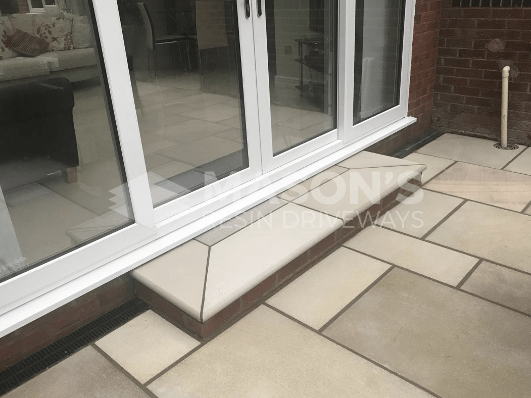 indian sandstone step patio preston, lancashire