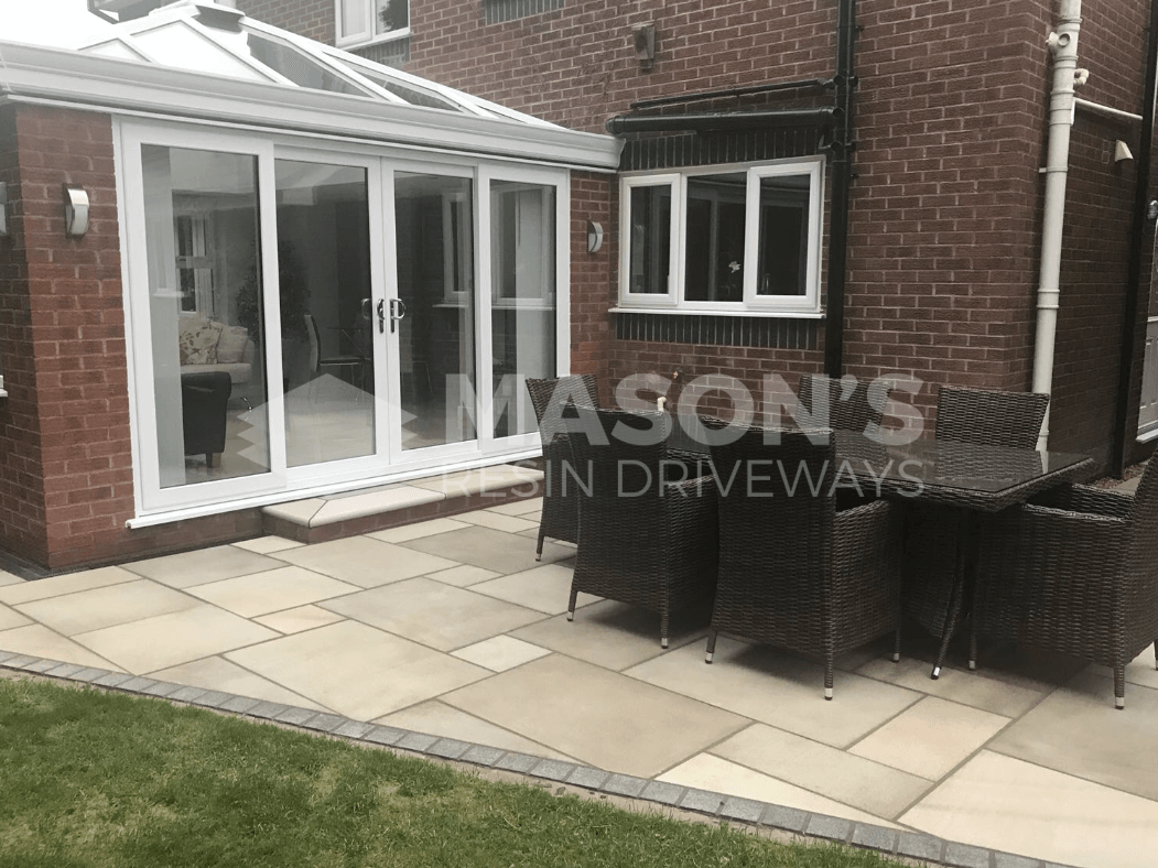 sawn indian sandstone patio in preston, lancashire