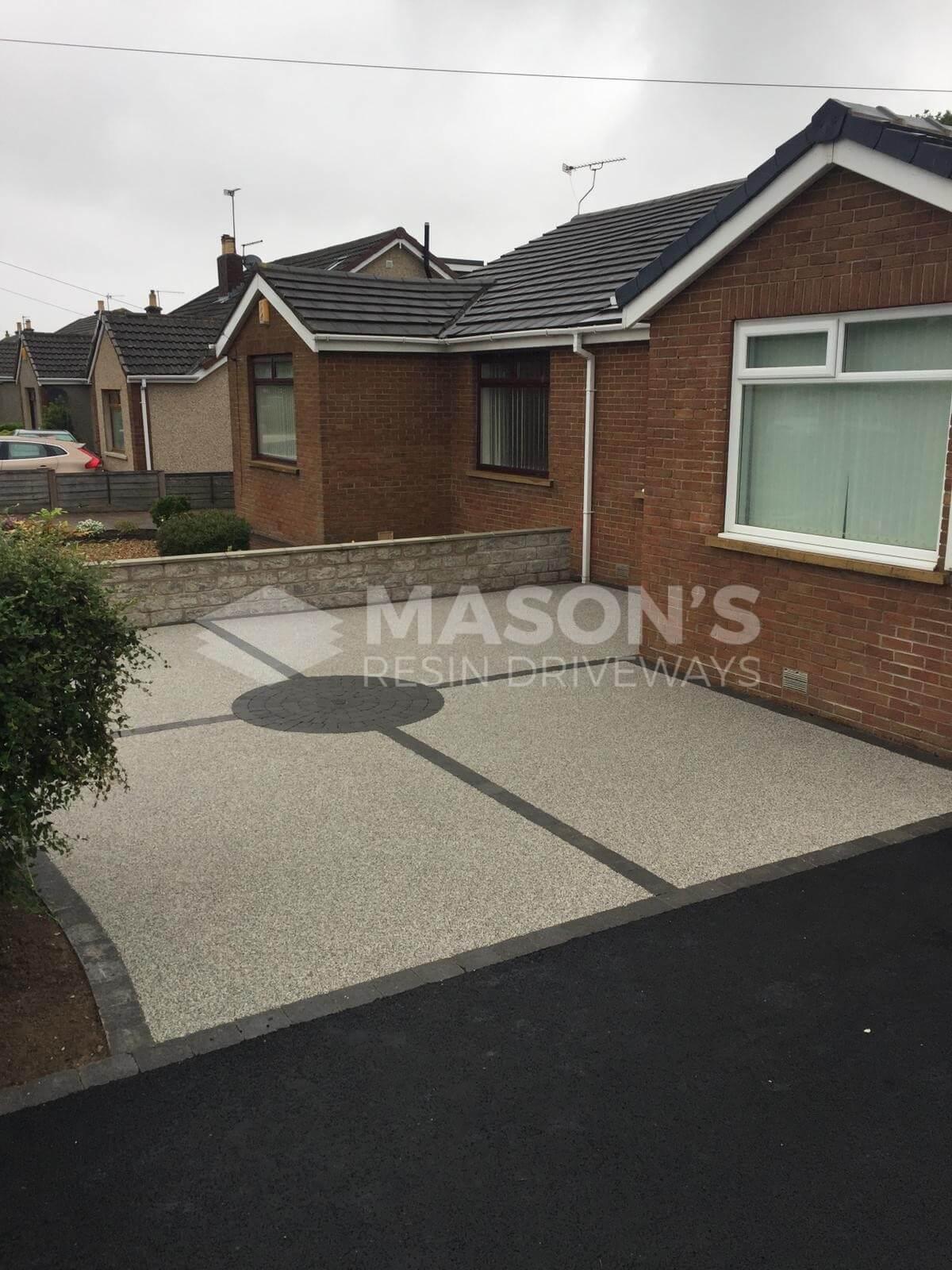 Silver quartz Resin Bound Driveway on house in Preston, Lancashire