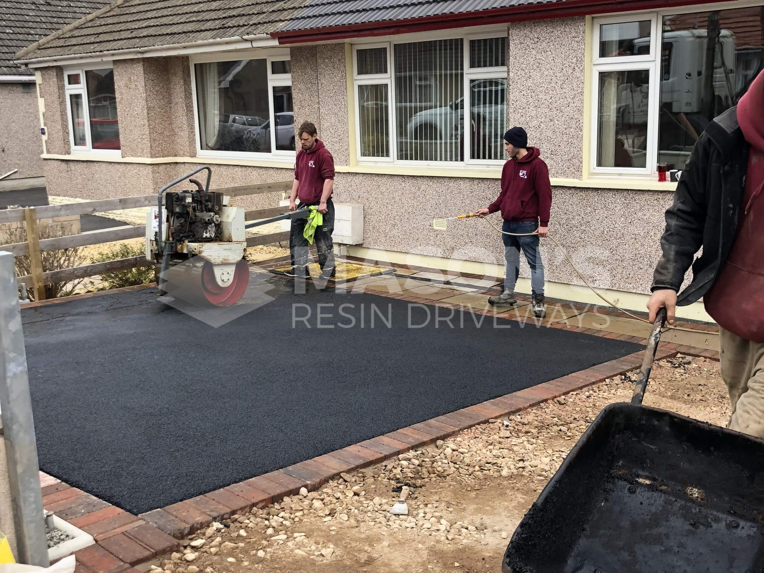Completing Tarmac Driveway with Indian Sandstone in Preston, Lancashire