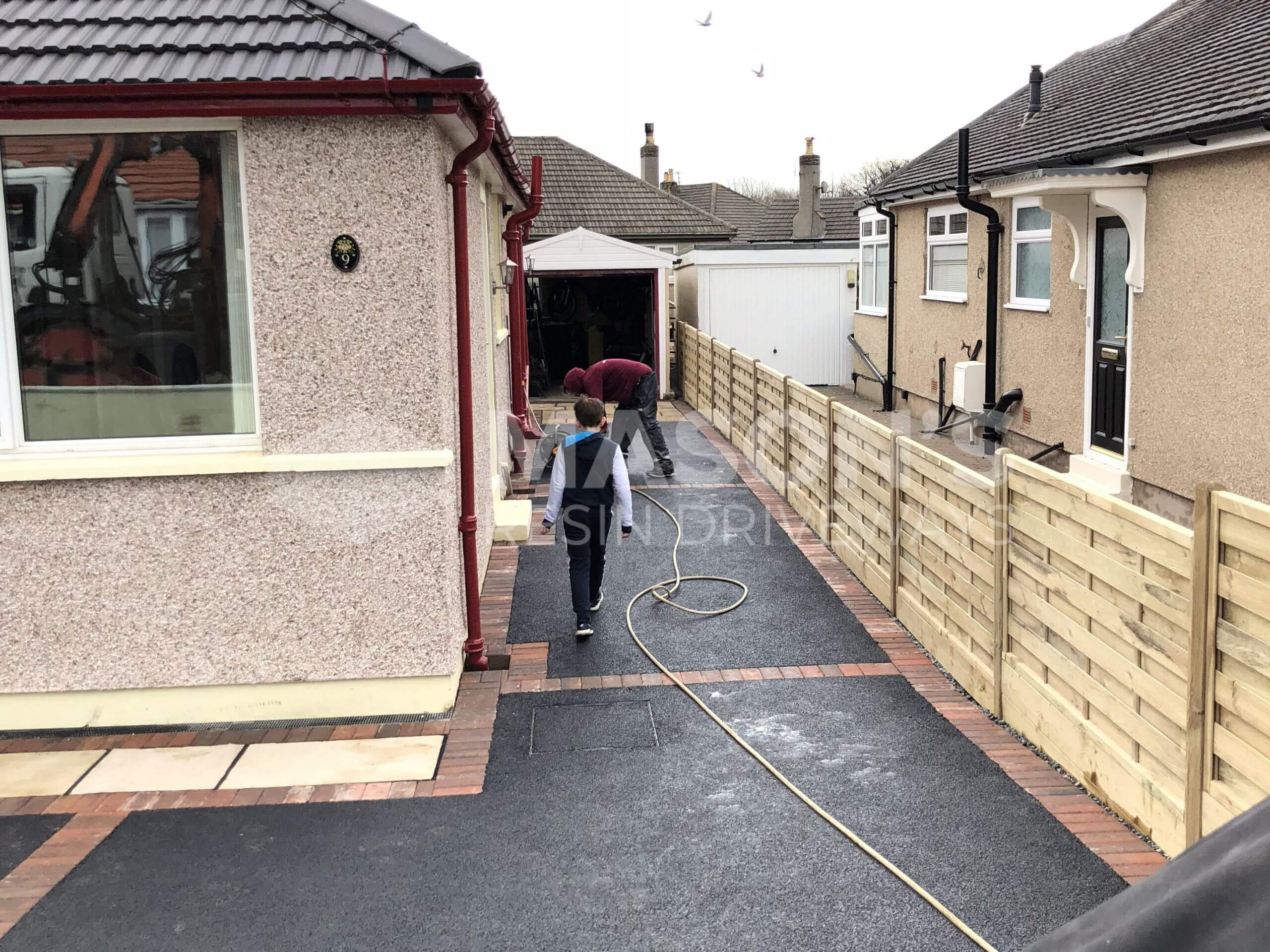 Alley view of Tarmac Driveway with Indian Sandstone in Preston, Lancashire