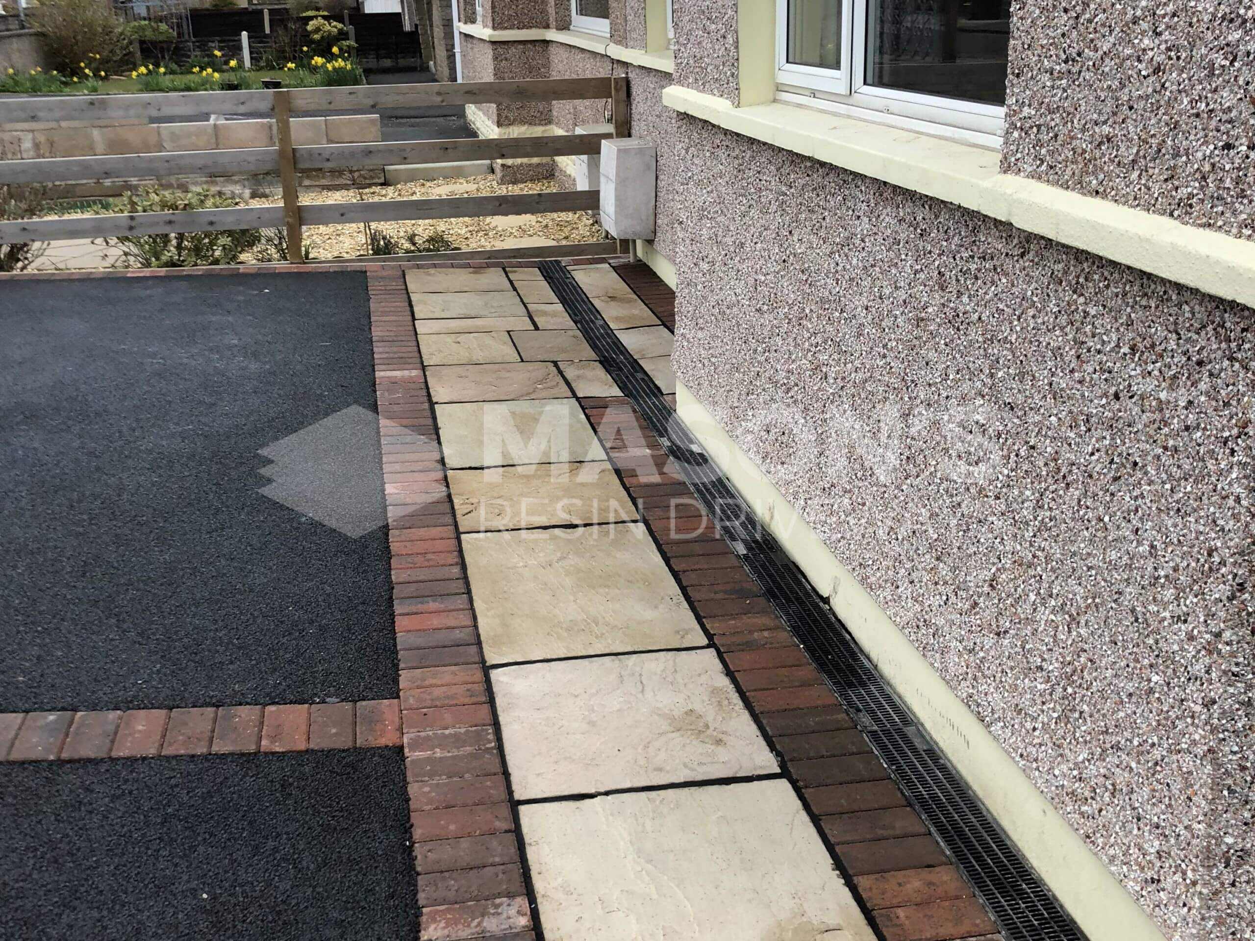 Close up of Indian Sandstone in Tarmac Driveway job done in Preston, Lancashire