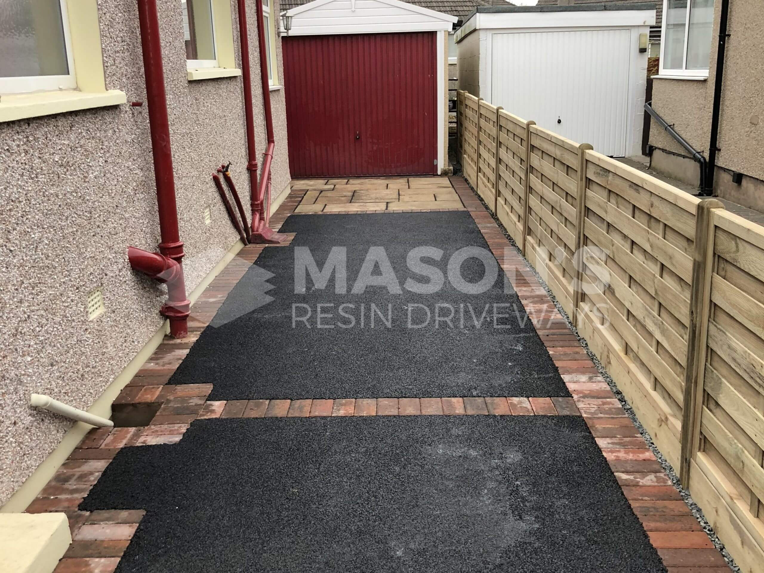 Shed view of Tarmac Driveway with Indian Sandstone in Preston, Lancashire