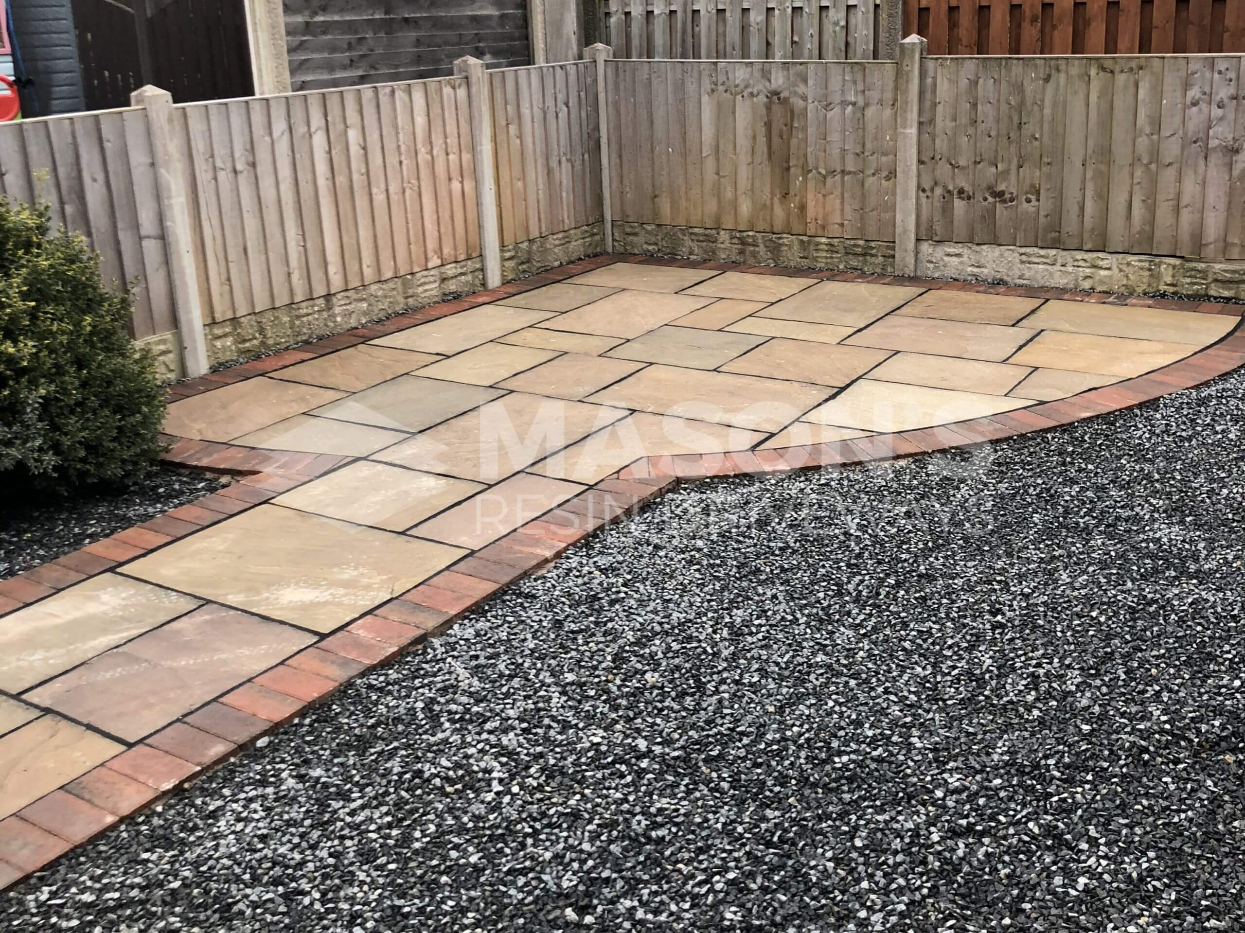 Indian Sandstone back garden with Tarmac Driveway in Preston, Lancashire