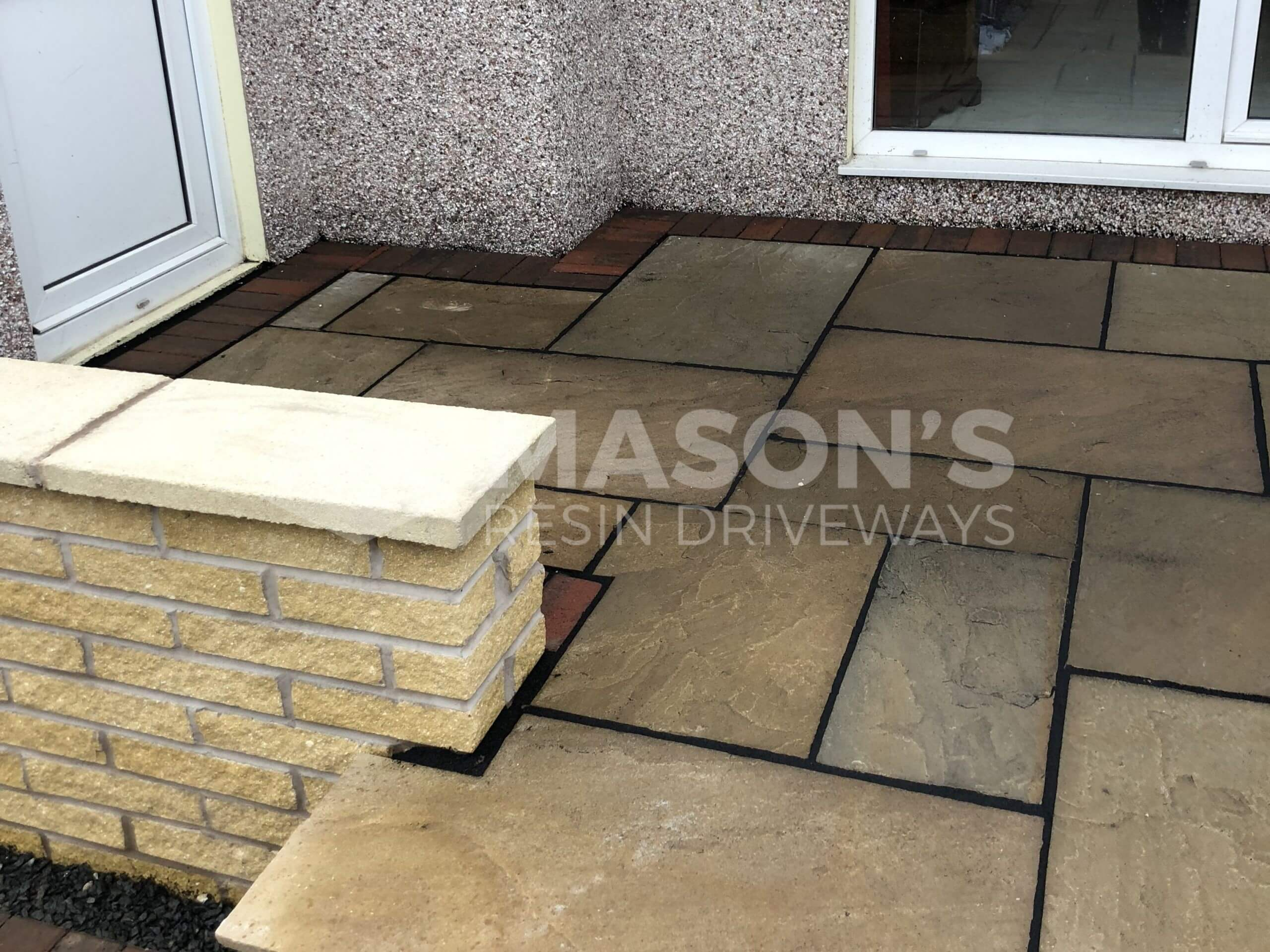 Indian Sandstone near house door of Tarmac Driveway job in Preston, Lancashire