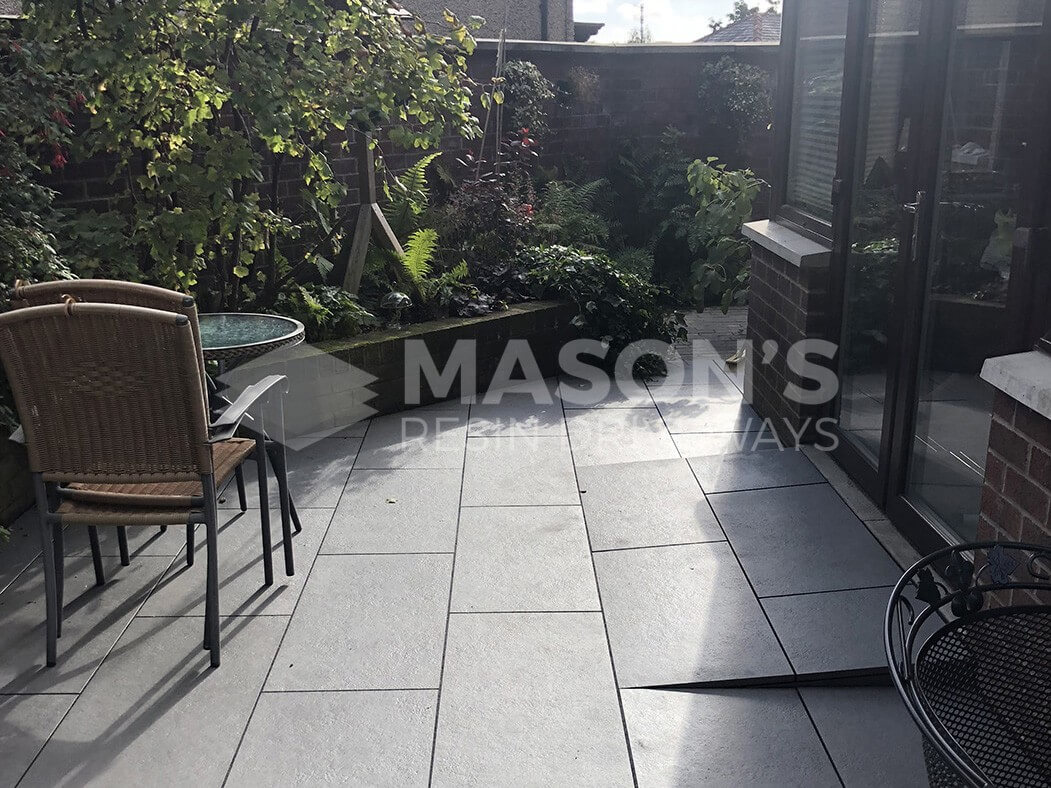 trento black porcelain patio in preston, lancashire