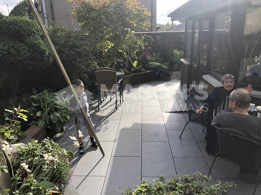 finished trento black porcelain patio in preston, lancashire