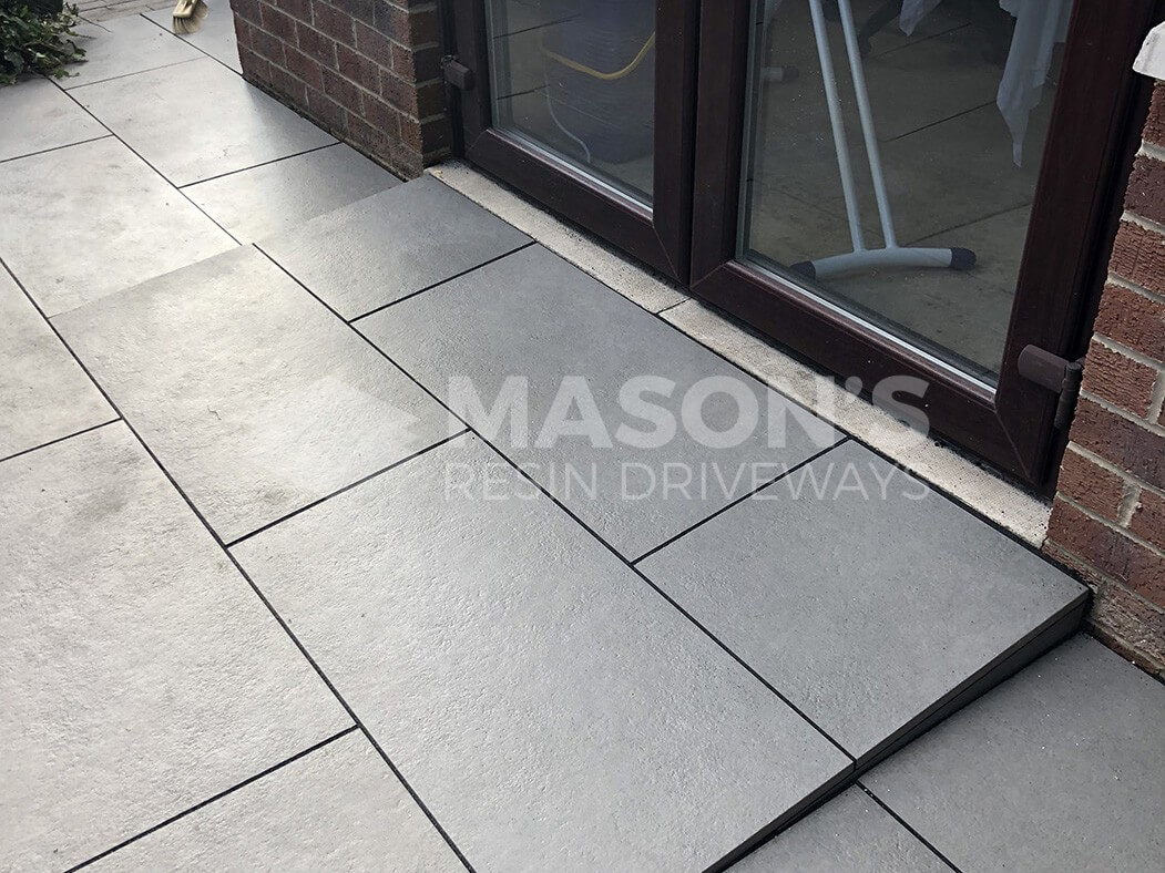 step of trento black porcelain patio in preston, lancashire