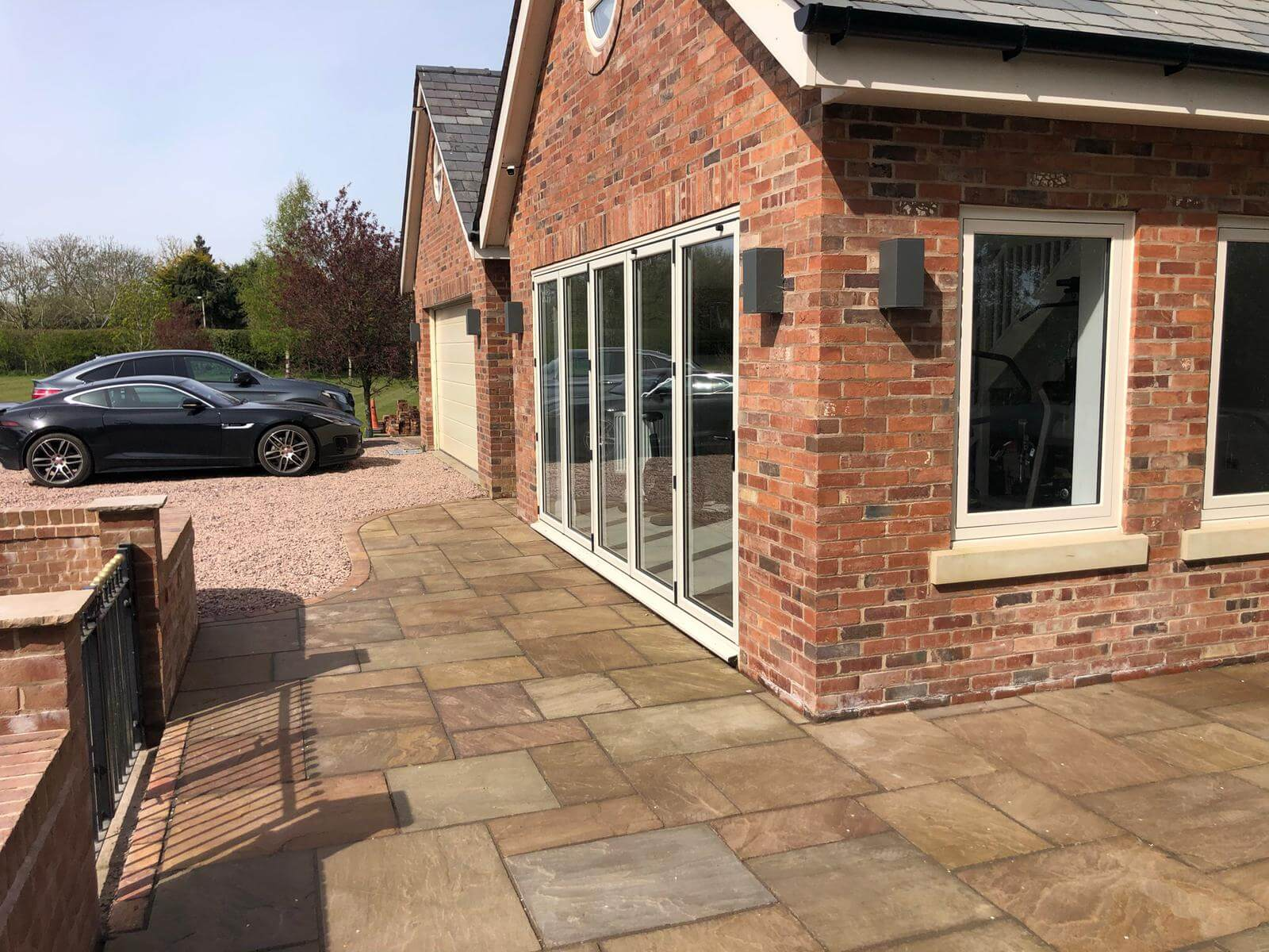 250 sq m of Indian stone 300 linear metres of kerbing and 350 sq m of Decorative aggregate