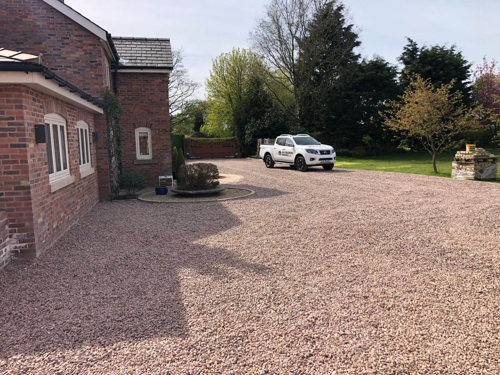 van on completed driveway installation