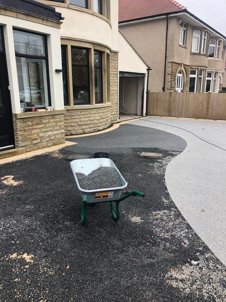 laying resin down for driveway