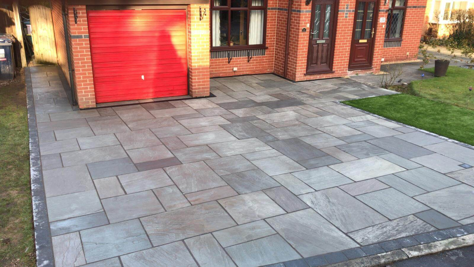 indian sandstone driveway, artificial grass